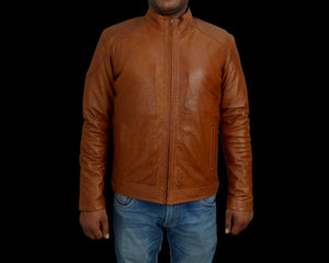 T1trendze Leather Jacket Brown LJ08