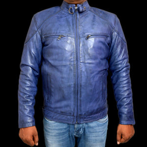 T1trendze Leather Jacket Blue LJ09