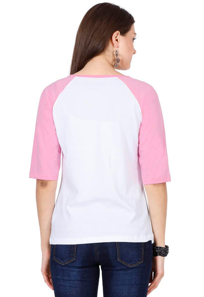 Women's Raglan full sleeves Premium Pink White
