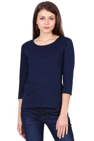 Women's Round Neck Full Sleeves Plain Premium Cotton T-shirt Navy Blue