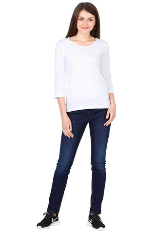 Women's Round Neck Full Sleeves Plain Premium Cotton T-shirt White