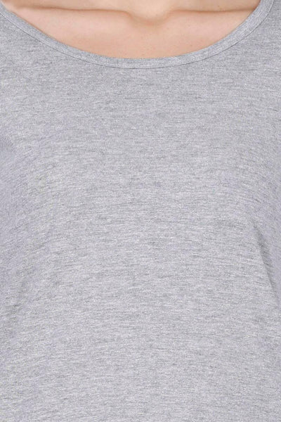 Women's Round Neck Full Sleeves Plain Premium Cotton T-shirt Grey Melange
