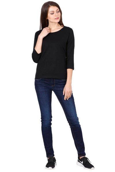 Women's Round Neck Full Sleeves Plain Premium Cotton T-shirt Black