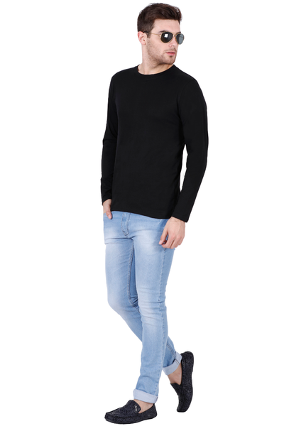 Men's Round Neck Full Sleeves Plain Premium Cotton T-shirt Black
