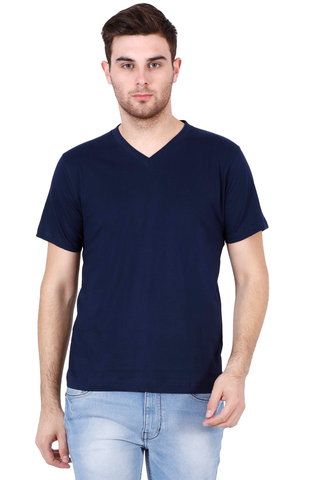Men's V-neck Half Sleeve Plain Premium Cotton T-shirt Navy Blue