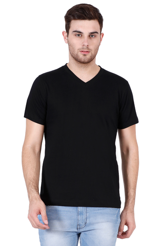 Men's V-neck Half Sleeve Plain Premium Cotton T-shirt Black