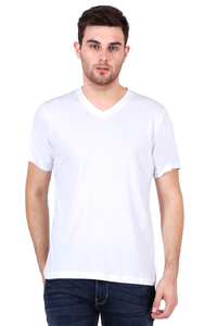 Men's V-neck Half Sleeve Plain Premium Cotton T-shirt White