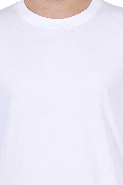 Men's Round Neck Full Sleeves Plain Premium Cotton T-shirt White