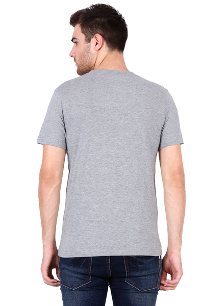 Men's V-neck Half Sleeve Plain Premium Cotton T-shirt Grey Melange