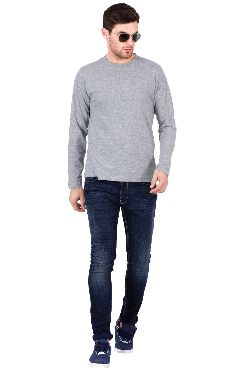 Men's Round Neck Full Sleeves Plain Premium Cotton T-shirt Grey Melange