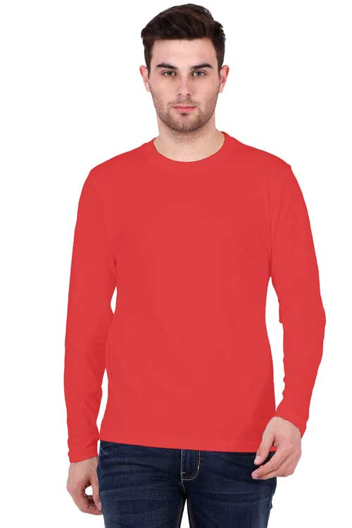 Men wearing Round Neck Full Sleeves Plain Premium Cotton T-shirt Red