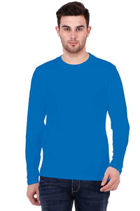 Men wearing Round Neck Full Sleeves Plain Premium Cotton T-shirt Royal Blue color