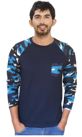 Men's Raglan full sleeves Premium Blue Camouflage