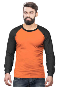 Men's Raglan full sleeves Premium Black Orange