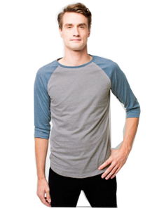 Men's Raglan full sleeves Premium Petrol Blue White