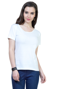 Women's Round Neck Half Sleeve Plain Premium Cotton T-shirt White