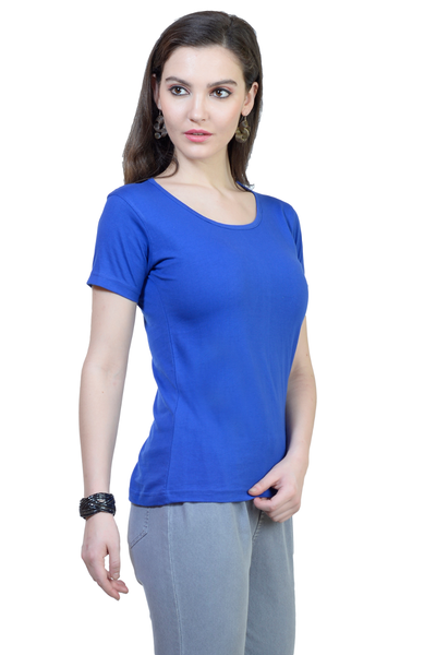 Women's Round Neck Half Sleeve Plain Premium Cotton T-shirt Royal Blue