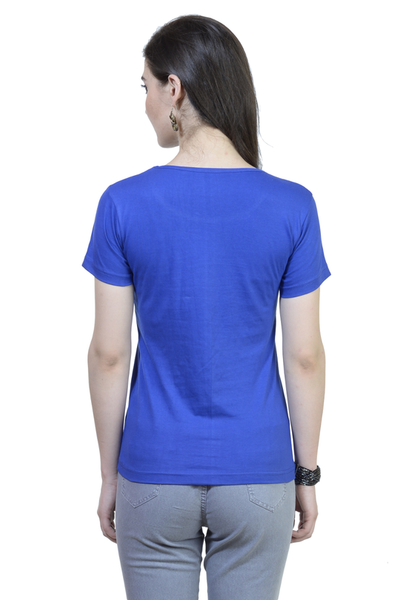 Fish Round Neck Half Sleeve Premium Cotton Women's printed T-shirt Royal Blue