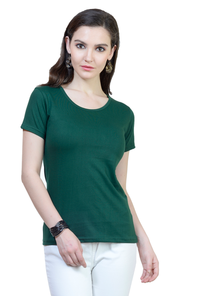 Women's Round Neck Half Sleeve Plain Premium Cotton T-shirt Bottle Green