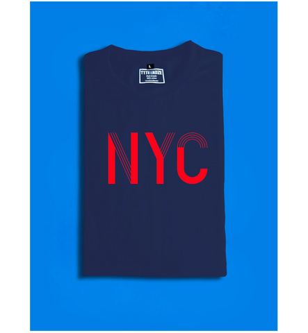 NYC Men's Round Neck Half Sleeve Printed Premium Cotton T-shirt Navy Blue