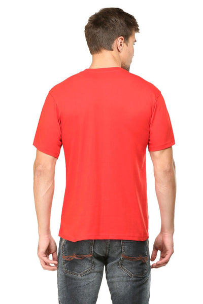 Touch Me Printed Men's Round Neck Half Sleeve Cotton T-shirt Red
