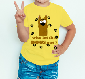 Boy's T-shirt who let the dogs out printed yellow
