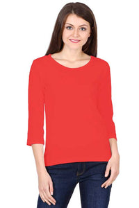 Women wearing Round Neck Full Sleeves Plain Premium Cotton T-shirt Red color