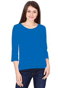 Women wearing Round Neck Full Sleeves Plain Premium Cotton T-shirt Royal Blue color
