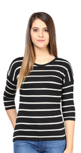 Women's Raglan full sleeves Premium White Sripe