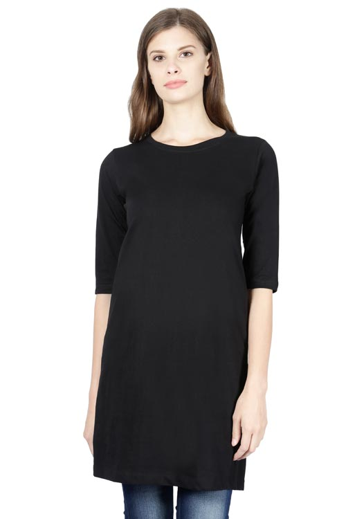 Women's Round Neck Plain Premium Cotton Long-Top T-Shirt Black