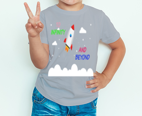 Boy's T-shirt To infinity and beyond Printed Grey Melange