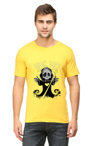 Hug Me printed Men's Round Neck Half Sleeve Cotton T-shirt Yellow