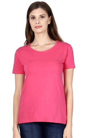 women wearing round neck half sleeves plain pink color t-shirt
