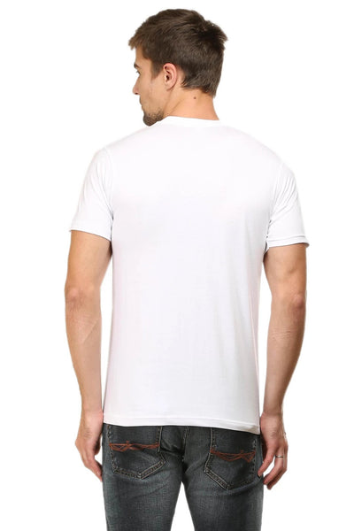 What the Crop printed Men's Round Neck Half Sleeve Cotton T-shirt White
