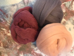 Hand dyed silk organza with wool roving