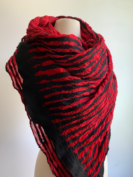 Red and Black Striped Scarf