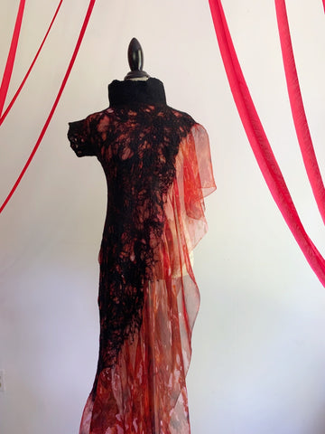 Fire Dress with Long Train