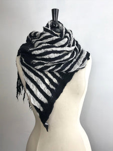 Black and White Striped Scarf with Dread Fringe