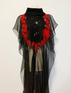 Red And Black Bibbed Kaftan