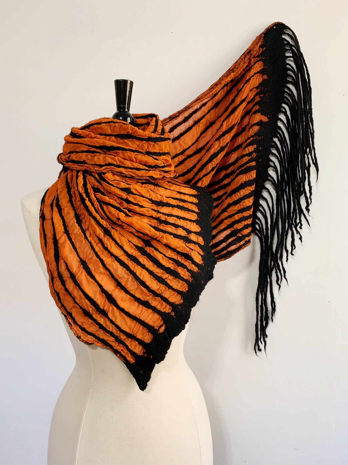 Orange and Black Striped Scarf