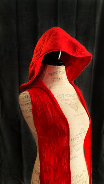 Red Ritual Hood with Scarf