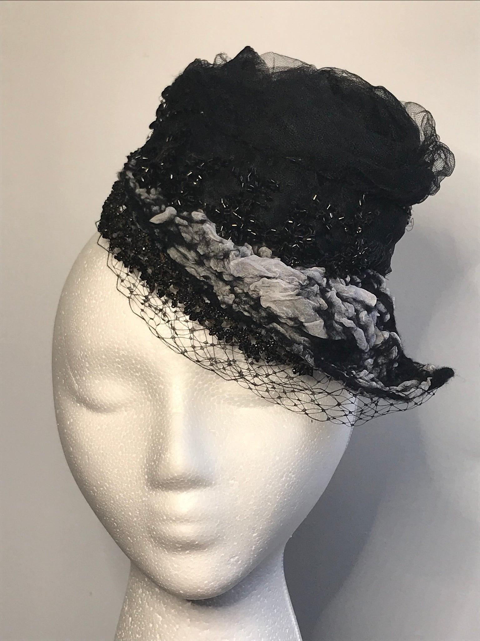 Cocktail Hat featuring vintage beading
