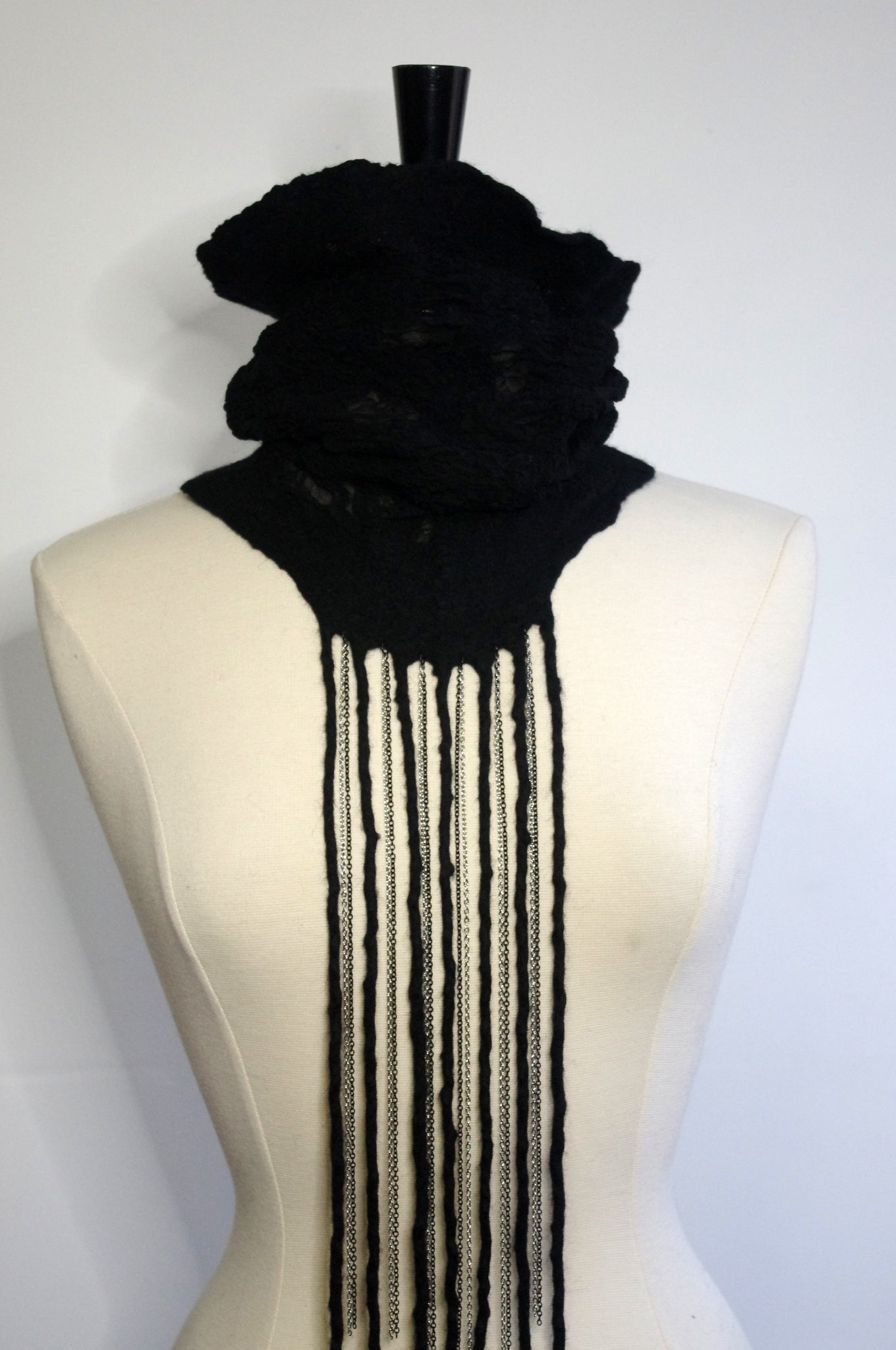 Nunofelt cowl with chain fringe