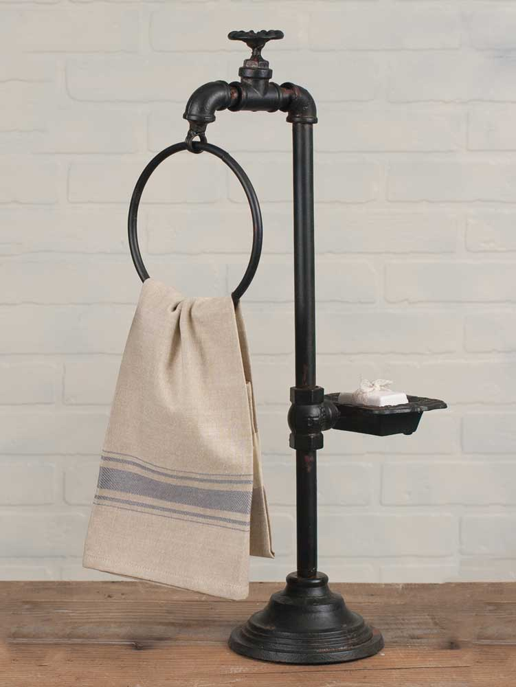 Rustic Industrial Faucet Spigot Soap and Towel Holder