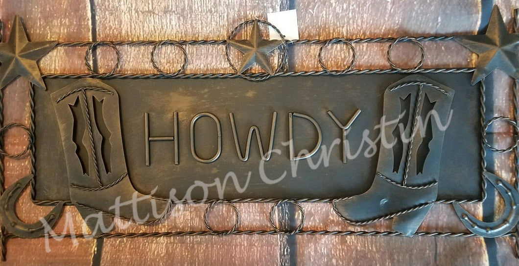 Western Metal Howdy Welcome Cowboy Boot Plaque Wall Decor