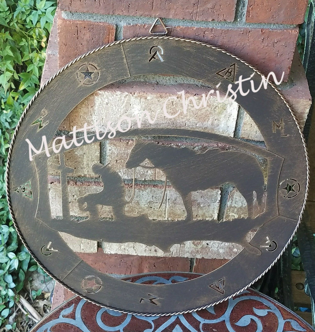 Texas Praying Cowboy Branded Metal Sign Western Home Decor