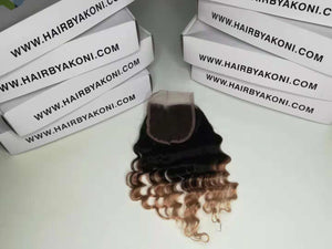 "2 Toned Ombre Closure 8"" Bundle - Hair By Akoni"