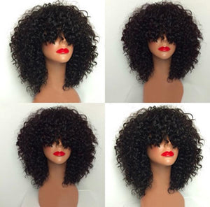 Kinky Curl Bob with Bangs Full Lace Wig - Hair By Akoni