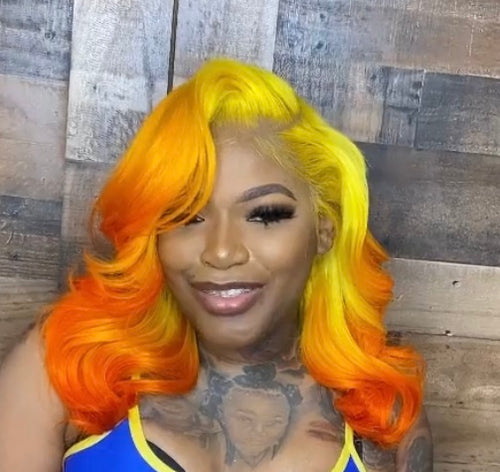 Yellow and Orange Ombre Wig in Loose Curl - Hair By Akoni