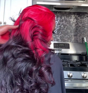 Red and Burgundy Wig in Loose Curl - Hair By Akoni